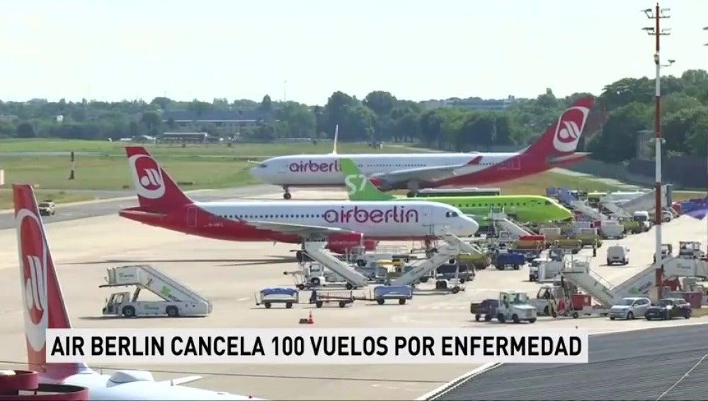 La compañía de vuelo 'Air Berlín' cancela más de cien vuelos por una revuelta de sus pilotos