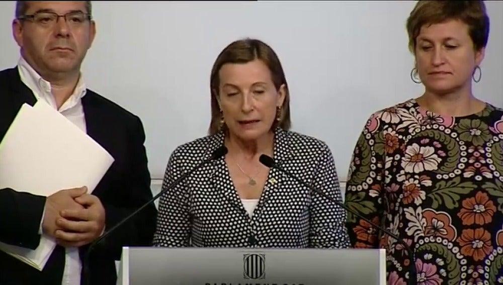 """Forcadell denuncia la """"escalada judicializadora"""" contra la Mesa del Parlament para intentar parar el referéndum"""