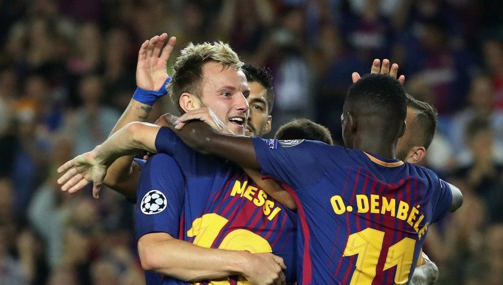 Rakitic celebra su gol contra la Juventus