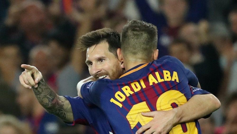 Messi celebra su segundo gol contra la Juventus