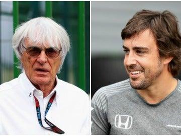 Bernie Ecclestone y Fernando Alonso