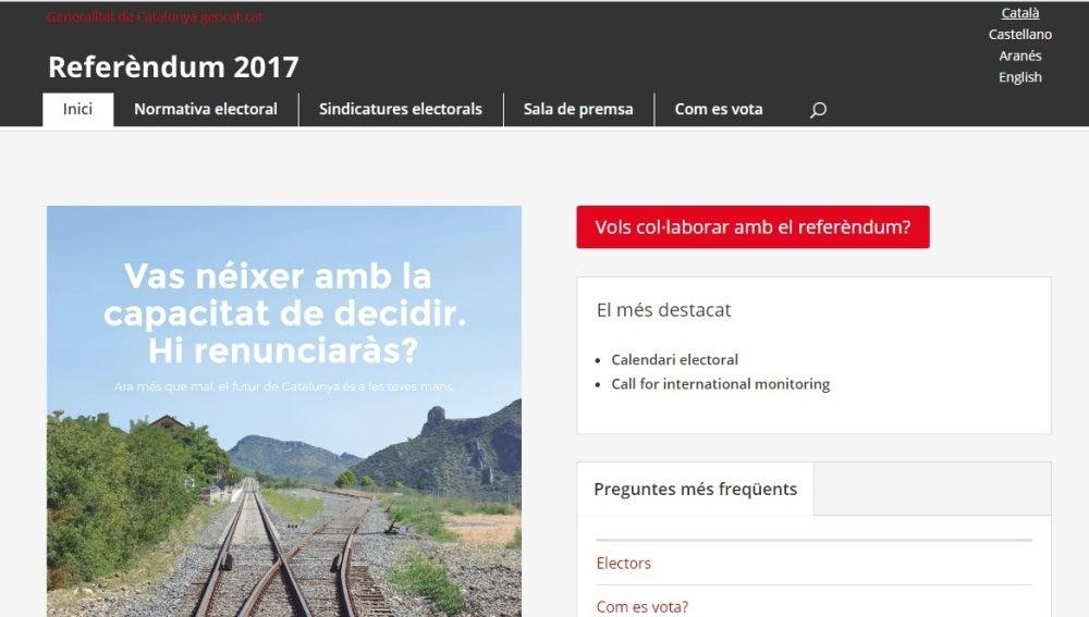 Nueva página web sobre el referéndum ilegal del 1-O
