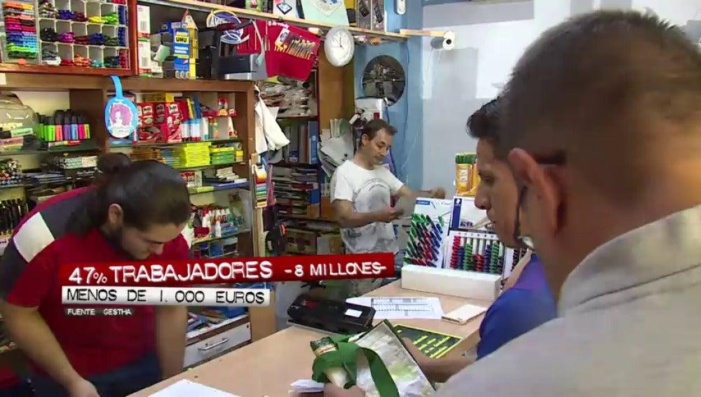 La mitad de los trabajadores españoles son mileuristas