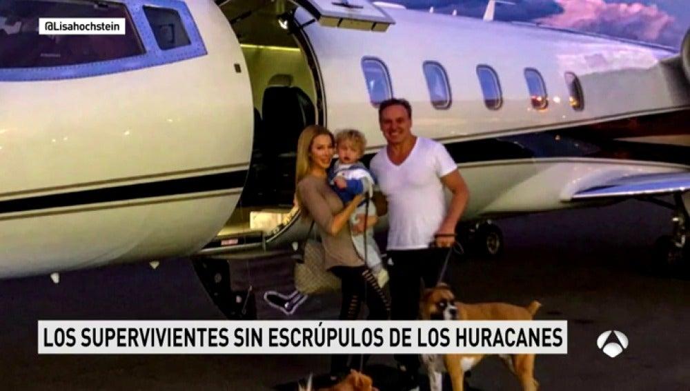 Sonrientes huyen de Irma en su jet privado