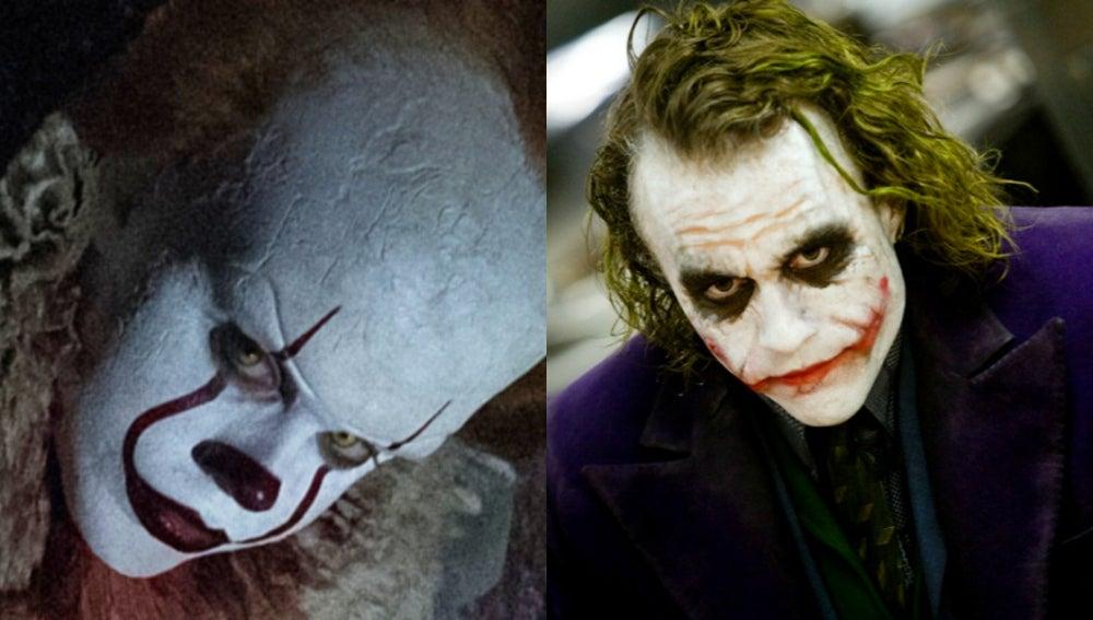 Bill Skarsgård como Pennywise y Heath Ledger como el Joker