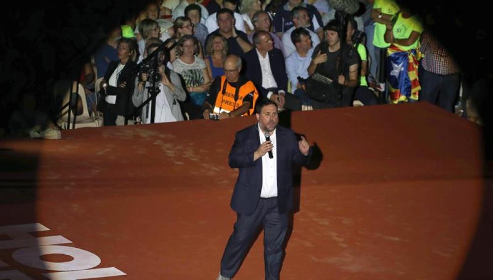 El vicepresidente del Govern, Oriol Junqueras durante su intervención en el Tarraco Arena