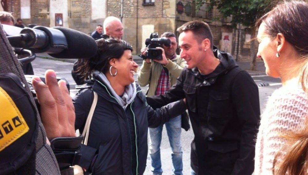 Anna Gabriel, a su llegada a la charla en Vitoria