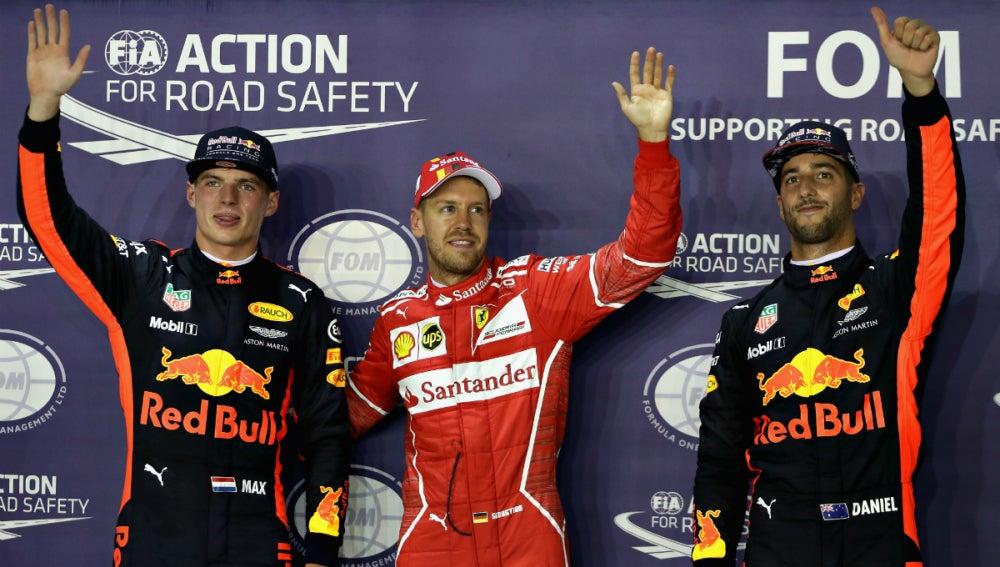 Verstappen, Vettel y Ricciardo