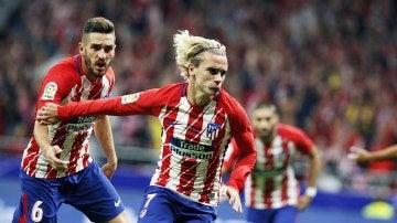 Griezmann celebra su gol con el Atlético de Madrid