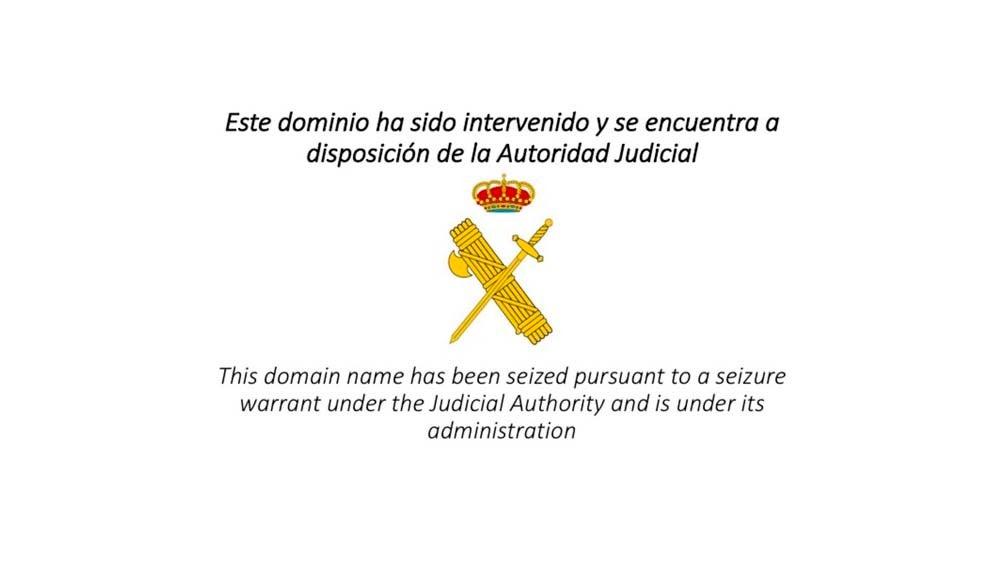 Anuncio de la Guardia Civil tras el cierre de las webs