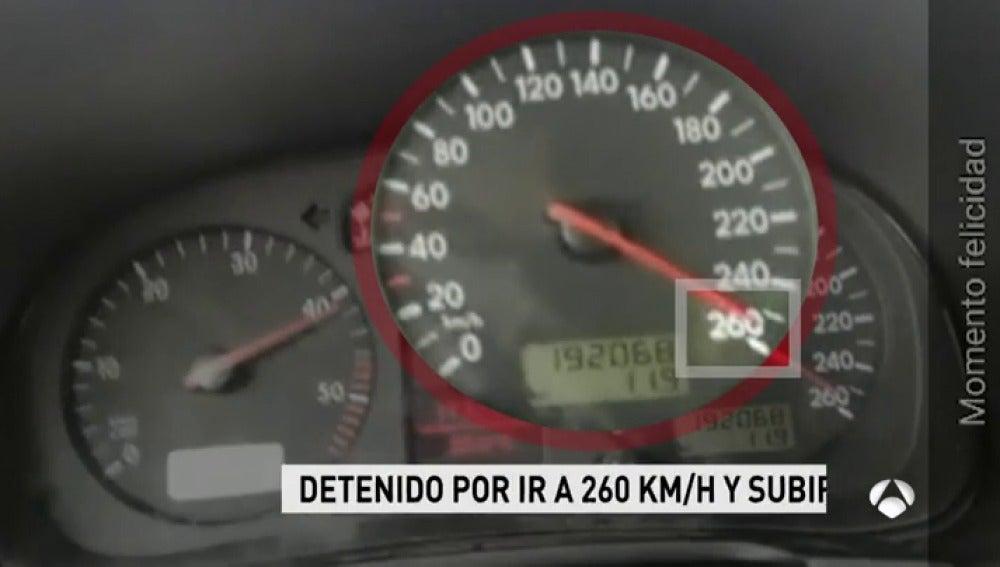 Detenido un joven por grabarse conduciendo a 260 kilómetros en una vía limitada a 70