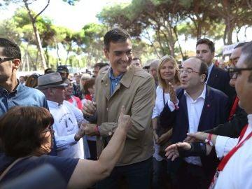 Pedro Sánchez en un acto en Cataluña