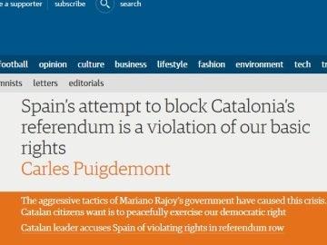 Artículo de Puigdemont en 'The Guardian'