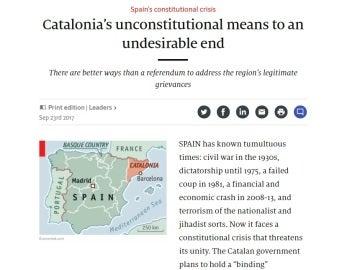 Editorial de 'The Economist' sobre la situación en Cataluña