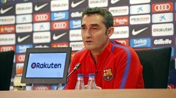 Ernesto Valverde, durante la rueda de prensa