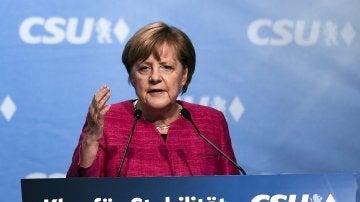 Angela Merkel en un acto de campaña