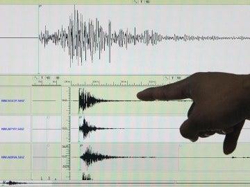 Un experto señala en un sismógrafo el registro de un terremoto
