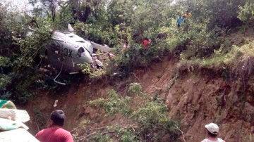 El helicóptero tras el accidente