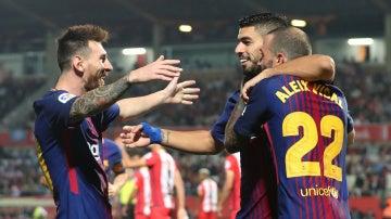 Los jugadores del Barcelona celebran su segundo gol ante el Girona