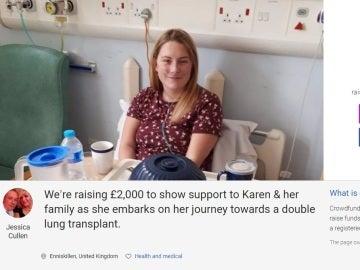 La página en apoyo a la joven con afección pulmonar