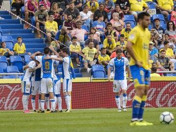Los jugadores del Leganes celebran su victoria ante Las Palmas