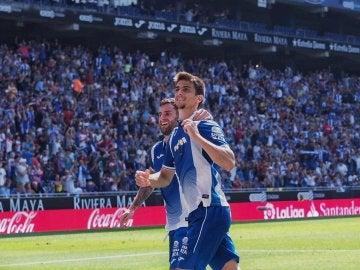 El Espanyol celebra un gol