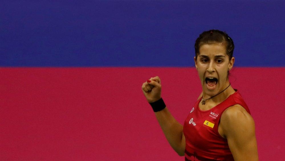 Carolina Marín celebra un triunfo