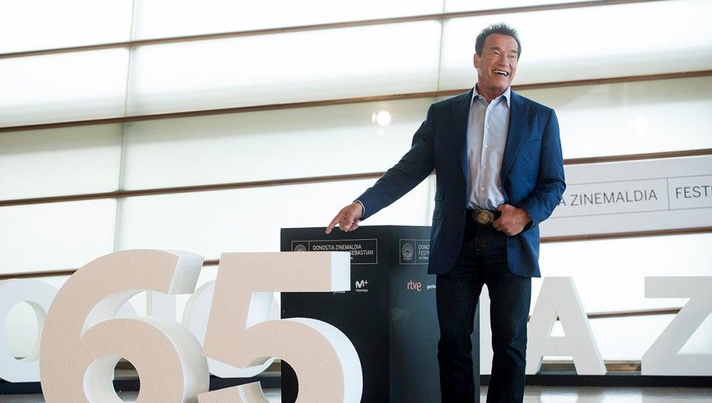 Arnold Schwarzenegger en el Festival de San Sebastián
