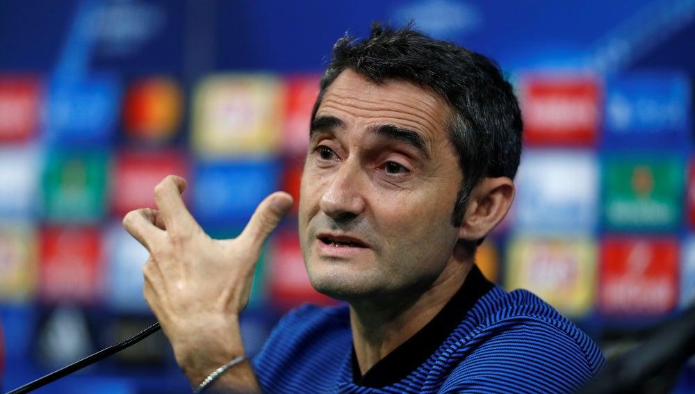 Ernesto Valverde, en la rueda de prensa