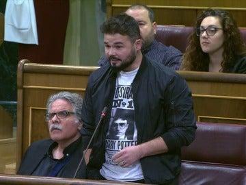 """Rufián: """"Cataluña quiere recuperar el país que le robaron hace 80 años"""""""
