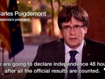 """Puigdemont anuncia a través de la BBC que declarará la independencia de Cataluña """"en cuestión de días"""""""