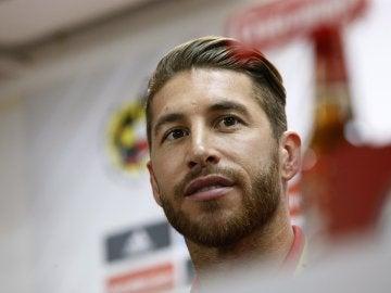 Sergio Ramos, durante la comparecencia ante los medios
