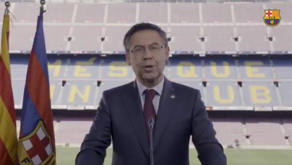 Josep María Bartomeu, durante el mensaje institucional