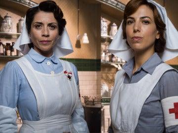 El uniforme de Carmen Angoloti y Verónica Montellano es diferente al resto de Damas Enfermeras