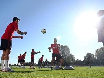El Atlético realiza un entrenamiento