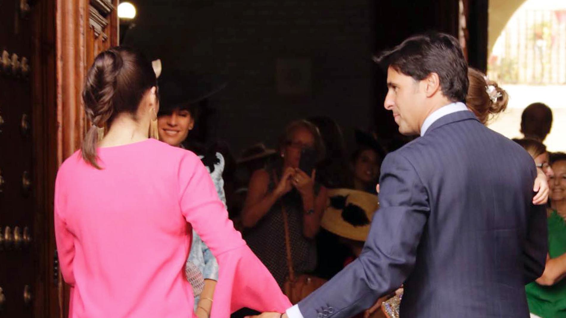 Cayetana Rivera y su padre, Francisco Rivera, en la boda de Sibi Montes