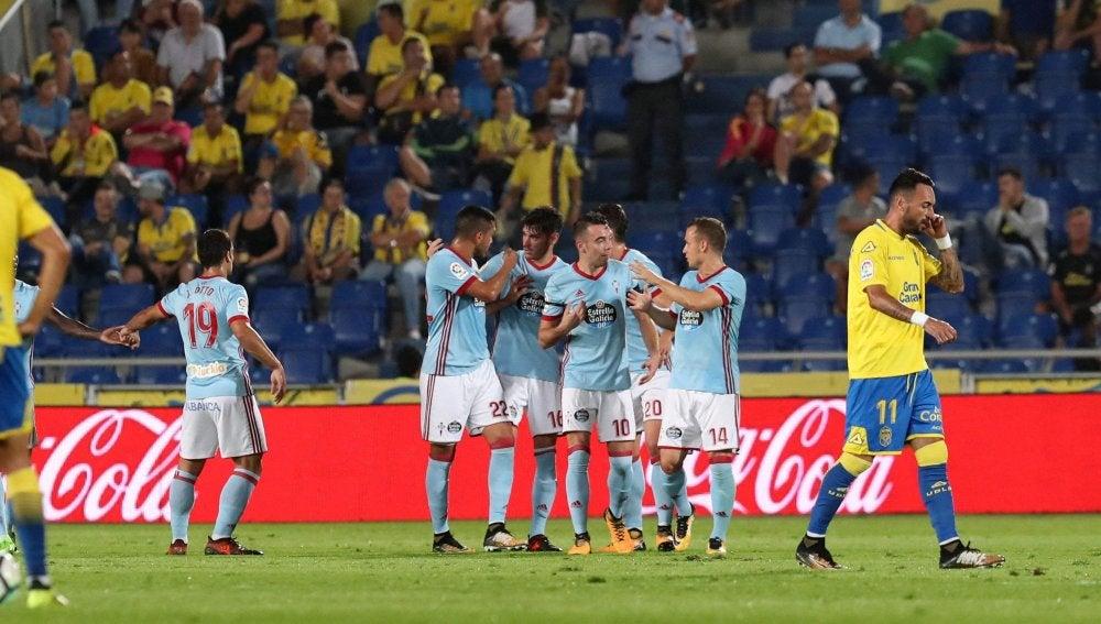 Los jugadores del Celta celebran un gol en el Estadio de Gran Canaria