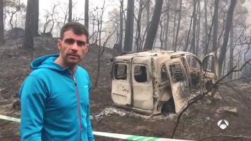 Óscar Pereiro, en un lugar afectado por un incendio en Galicia
