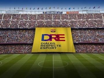 La pancarta que desplegará el Barcelona ante el Olympiakos