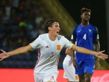 Juan Miranda celebra su gol ante Francia