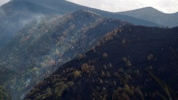 Vista general de los montes arrasados por el fuego