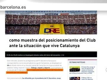 El Barcelona exhibirá un tifo ante Olympiacos con el lema 'Diálogo, respeto y deporte'