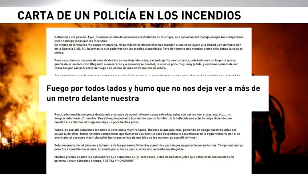 La carta de desesperación de un policía atrapado en el incendio de Galicia
