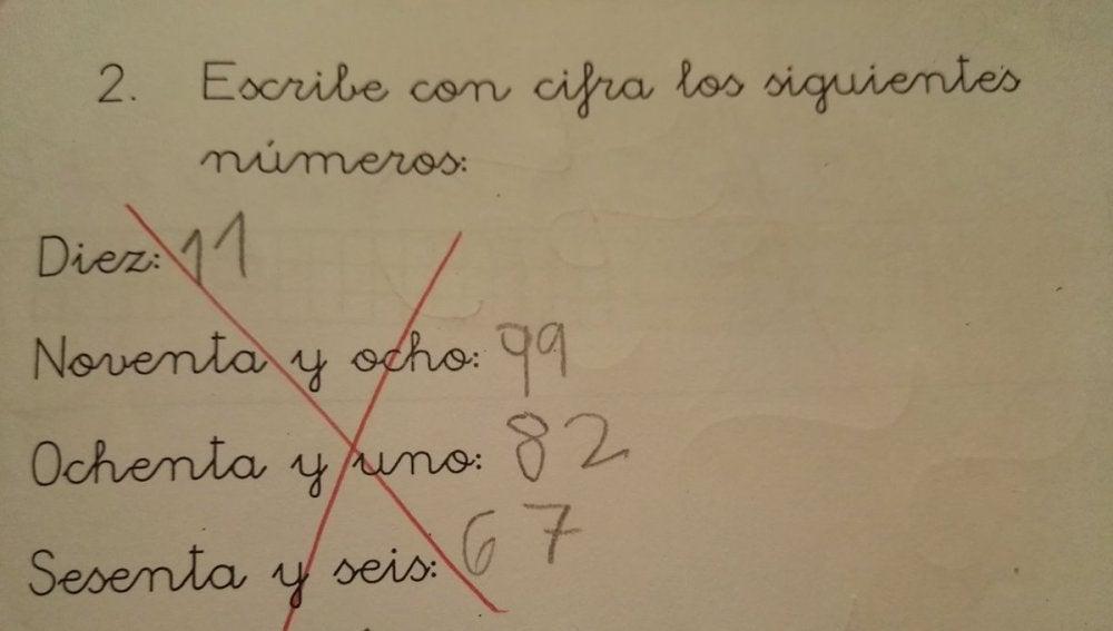 La respuesta de un niño en un examen de matemáticas se
