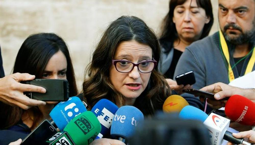 La vicepresidenta del Consell, Mónica Oltra, comparece ante los medios de comunicación