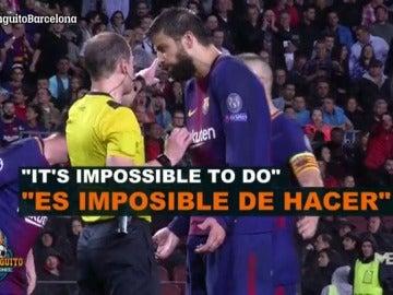 """Piqué, al árbitro tras su expulsión: """"¿Dónde pongo el brazo?"""""""