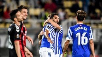 Willian José celebra un de sus goles frente al Vardar