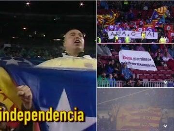 Pancartas a favor de la independencia en Cataluña en el Camp Nou