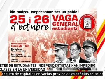 Segunda jornada de huelga de estudiantes en Cataluña en contra de la aplicación del artículo 155