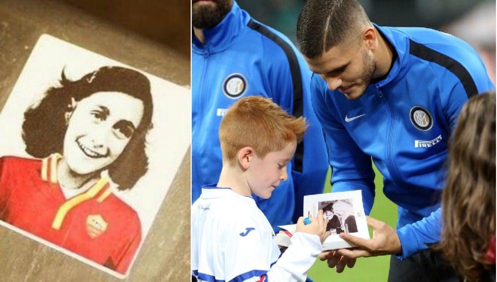 Pegatina de Ana Frank con la camiseta de la Roma (izq) y Mauro Icardi, del Inter, con el 'Diario de Ana Frank' (der)
